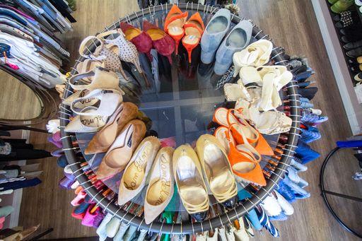 luxury consignment boutique shoe rack