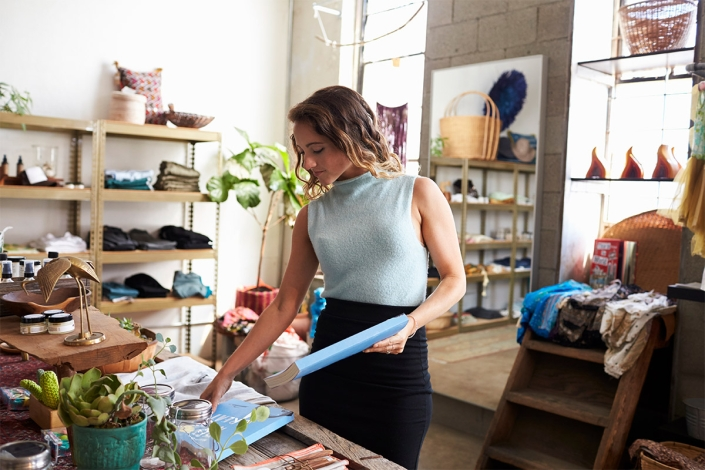 boutique franchise owner in her store